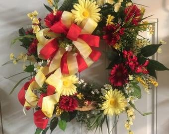 Red and yellow summer Wreath, Summer Wreath, Summer Door Wreath, Home Decor