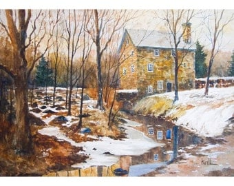 The Cooper Mill Painting, Chester New Jersey, Watercolor Wall Art - Print