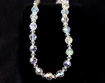 Aurora Borealis Crystal Necklace, Vintage