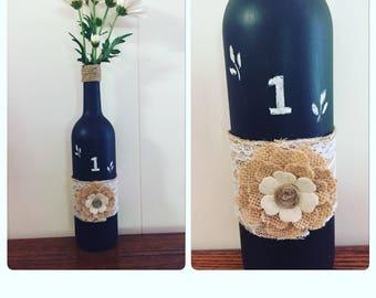 Chalkboard wine bottle table number centerpiece