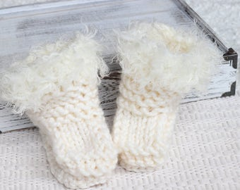 Off White Knitted Eskimo Boots, New Born Boots, Sitter Knitted Boots Prop