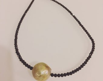 Jumbo Fresh Water Pearl black crystals Choker Necklace