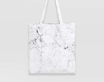 silky cotton White Marble tote bag /  Monogramming / Marmor fabric shoulder bag