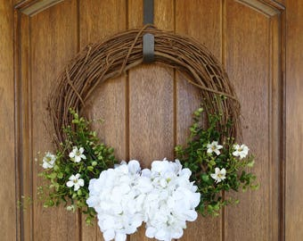 White Hydrangea Grapevine Wreath