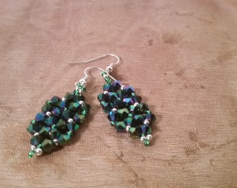 Emerald Green Bicone Earrings with Silver and Green Seed Beads