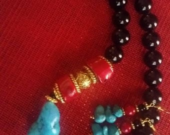 Onyx Coral Turquoise Magnesite Gemstone Necklace with Matching Earrings