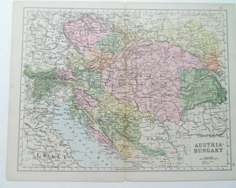 Austria-Hungary antique map from Bacon's atlas dated 1880 26cm x 32cm