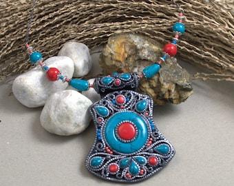 Necklace Tibetan necklace Jewelry Jewelry pendant Tibetant jewelry Polymer clay pendant