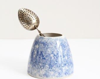 small sponged blue pot, vase, planter, handmade, wheel thrown, ceramic, stoneware, glazed