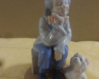 Glossy Porcelain Clown With His Puppy Dog Figurine