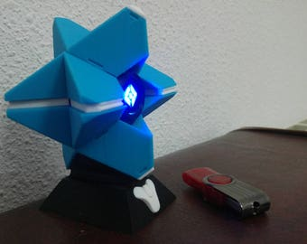 Destiny ghost. Destination Fanstama. Spectrum. 80 mm with base, light led and magnets. Blue.