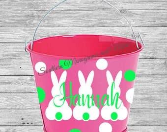 DIY KITS: Custom Easter Bucket Decal,Easter Bucket Pail Decal, Custom Monogram Decal, Personalized Easter Basket Decal, Vinyl Easter Decal