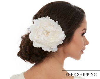 Hair Piece Flower - White flower hair piece - Peony Hair Piece - Peony Hair Clip - White peony hair piece -  Bridal Hair Flower