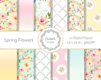 Spring Floral digital paper - Cottage Chic clipart - Scrapbook paper, Spring Floral Digital Paper, Shabby Chic Digital Paper, Commercial use