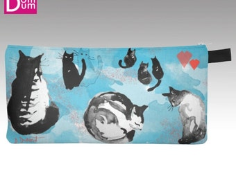 Case with pencil or makeup, motif of cats on light blue, white and coral