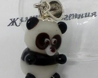 Panda lampwork, murano glass, lampwork bead, Christmas gift, pendant jewelry