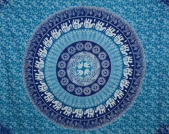 Free Shipping!!! Blue Shaded Elephant Mandala Tapestries Indian Dorm Decor
