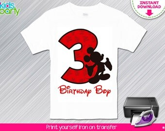 INSTANT DOWNLOAD Mouse Birthday Boy Print Yourself Iron on Transfer 3rd Birthday