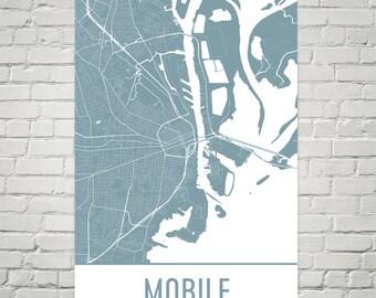 Mobile Map, Mobile Art, Mobile Print, Mobile AL Poster, Mobile Wall Art, Mobile Gift, Map of Mobile, Mobile Decor, Modern, Mobile Art Print