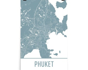 Phuket Map, Phuket Art, Phuket Print, Phuket Thailand Poster, Phuket Wall Art, Map of Phuket, Phuket Gift, Phuket Decor, Phuket Map Art