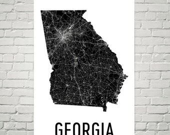 Georgia Map, Georgia Art, Georgia Print, Georgia Wall Art, Georgia Sign, Georgia Gifts, Georgia Decor, Georgia Poster, Map of Georgia, Home