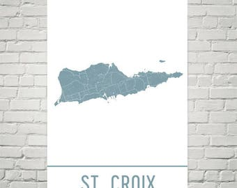 St. Croix Map, St. Croix Art, St. Croix Print, St. Croix Poster, St. Croix Wall Art, Beach Office Decor, Beach Print, Beach Theme Poster