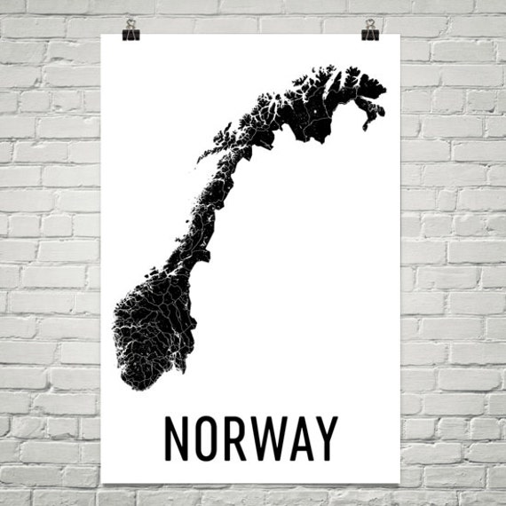 Norway Map Map Of Norway Norway Poster Norway Print Norway - Norway map poster