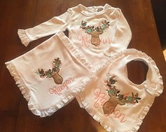 Ruffle onesie, Embroidered deer baby onesie, deer baby girl onesie, personalized baby stuff, baby girl design, deer appliqued baby onesie