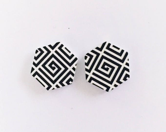 The 'Lara' Geometric Wooden Handpainted Earring Studs