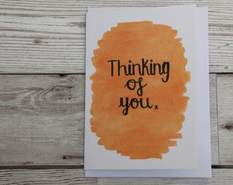 Orange sympathy card, thinking of you watercolour card, orange bereavement card, calligraphy watercolour loss card, orange with love card