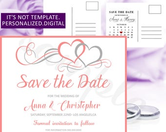 Wedding Save the date,Coral Hearts Wedding Save the Date printable,Coral Save the Date,Hearts Wedding Save the Date,Modern Save the date,18