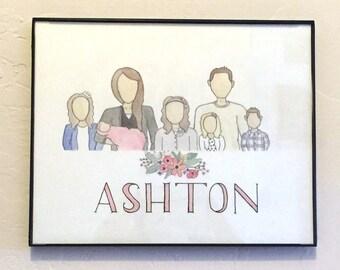 Daisy Portrait - Custom Family Watercolor