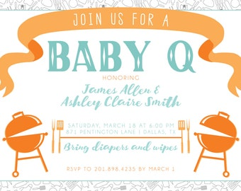 BBQ Baby Shower Invitation and Thank You Printable