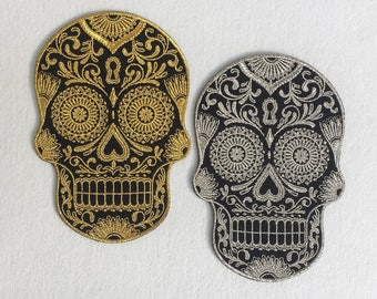 Gold & Silver Deluxe Skull Patches Calavera Sugar Skull Embroidered Iron on Patch