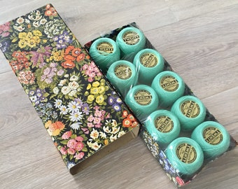 Turquoise Crochet cotton, Vintage Twilleys Twenty No20 crochet cottons, stunning floral box of 10 Crochet turquoise cottons.