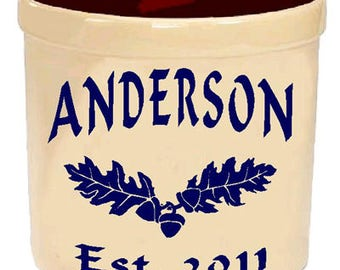 Personalized  Stoneware Crock, Engraved gift, housewarming gift, wedding gift. Last for generations. Oak Leaf Design