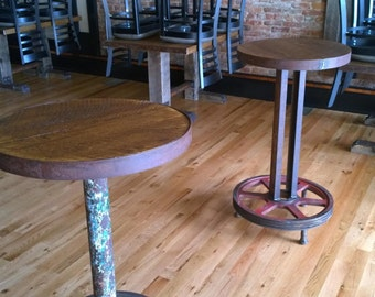 Reclaimed Barnwood & Metal Wheel Bar Table