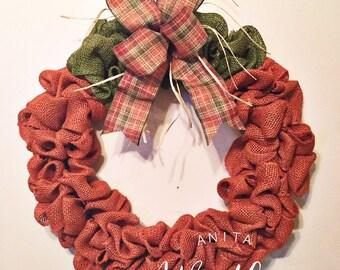 Pumpkin Burlap Wreath/ Fall Wreath/ Burlap Wreath/ Fall Decor/ Front Door Wreath/Door Wreath/ Fall Door Wreath/ Fall Front Door Wreath