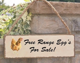 free range eggs  for sale sign- rustic solid oak stained sign- can be personalised