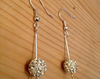 Handmade Silver Plated Surgical Steel Shamballa Bead Drop Earrings