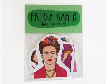 FRIDA KAHLO 12 pc sticker set, Frida Kahlo sticker pack, Frida Kahlo sticker set, Frida Kahlo art, Mexico, Diego Rivera, feminist, LGBT