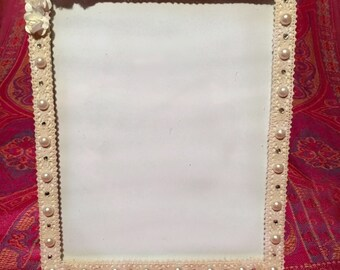 Wedding Bridal Cream Laced Floral Pearl Photo Frame