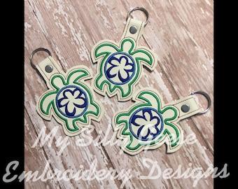 DIGITAL FILE 4x4 5x7 Sea Turtle key fob snap tab keychain embroidery design