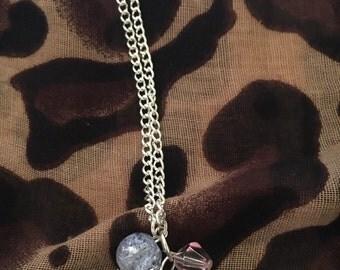 Silver chain flower charm bracelet