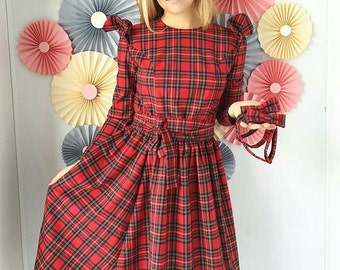 Tartan nursing dress Plaid breastfeeding dress casual flared dress with  long sleeves party dress every day dress checkered dress