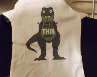 I Love You This Much T-Rex ONESIE White 0-3 Never Been Worn