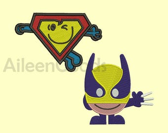 Wolverine , Superman Embroidery design 8 Size INSTANT download machine embroidery