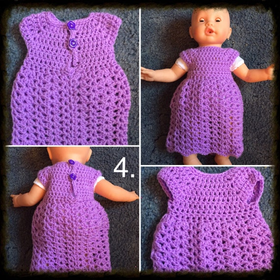 Long crochet dolls dress. 18-22 inch dolls i.e Baby annabelle and baby born  handmade to order