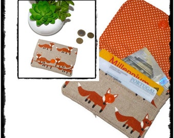 Womens Wallet Foxes, Small Wallet Thin Wallet, Travel Wallet, Business Card Holder, Credit Card Holder Fox, Card Wallet, Mini Wallet Fox