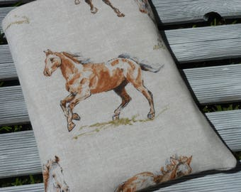 Book Sleeve, Horses book Cover, Horses Book Sleeve, Fabric Book cover, book protector, book pouch, paperback sleeve, Horses gift, book case